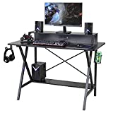 Sedeta Gaming Desk, 47' Gaming Table, E-Sports Computer Desk, Gaming Workstation Desk, PC Stand Shelf Power Strip with USB Cup Holder & Headphone Hook Home Office Desk Gamer Desk Writing Table, Black