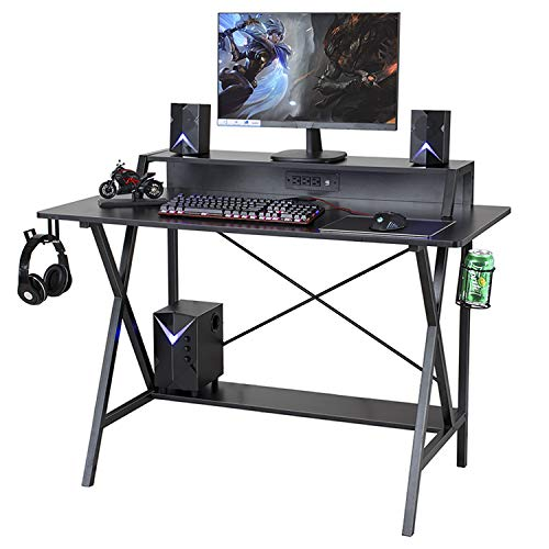 Sedeta Gaming Desk, 47' Gaming Table, E-Sports Computer Desk, Gaming Workstation Desk, PC Stand Shelf Power Strip with USB Cup Holder & Headphone Hook Home Office Desk Gamer Desk Writing Table, Black