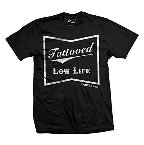 Cartel Ink Tattooed Low Life Men's T-Shirt (Large) Black