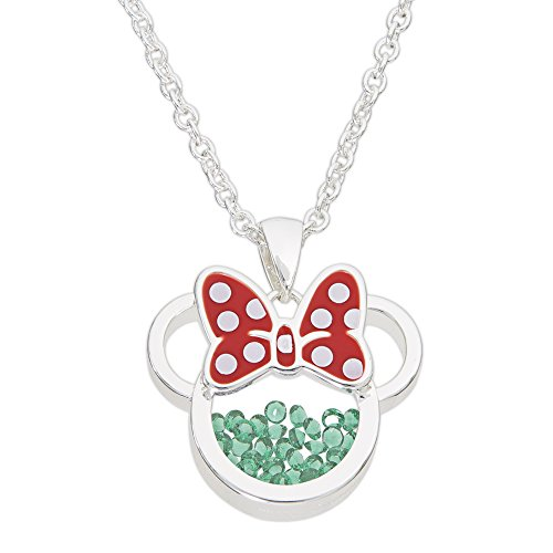May Birthstone Pendant Green (Disney Birthstone Women and Girls Jewelry Minnie Mouse Silver Plated May Emerald Green Cubic Zirconia Shaker Pendant Necklace, 18+2