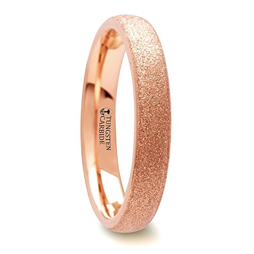 EMBER Domed Tungsten Carbide Ring with Rose Gold Plating and Sandblasted Crystalline Finish - 4 mm & 8 (Ember Finish)