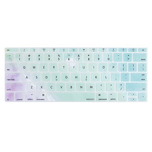 MOSISO Silicone Keyboard Cover Compatible MacBook Pro 13 Inch 2017 & 2016 Release A1708 Without Touch Bar, MacBook 12 Inch A1534 Protective Skin, Rainbow Mist