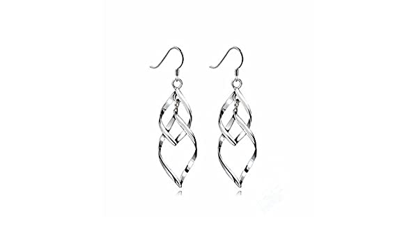 TININNA 925 Sterling Silver Earring Double Marquise Loops Design Earring Drops Hook Earrings Pendant Earrings for Women Ladies QIHQt