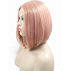 Short Soft Bob Hair Mixed Pink Color Synthetic Wigs For Women Ladies Girls Rose Gold Lace Front Wig Middle Part High Temperature Party Bobo Hair Natural Look Haircut For Drag Queen 14inches