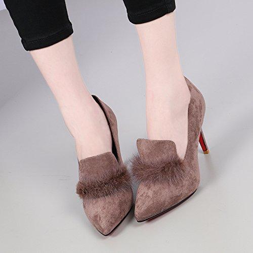 KHSKX-Nuovo Inverno Pantofole Un Unico Superficiale Bocca Scarpa con Una Una Una 9Cm Scarpe col Tacco Alto Scarpe Sexy Corrispondono Tutti Occupazione 39 Colore Sabbia ab0b89