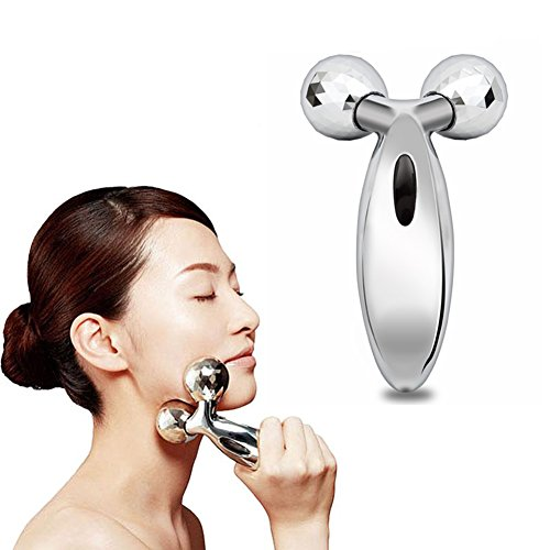 3D Roller Massager 360 Rotate Silver Thin Face Full Body Shape Massager Lifting Wrinkle Remover Facial Massage Relaxation Tool - Features Shapes Facial And