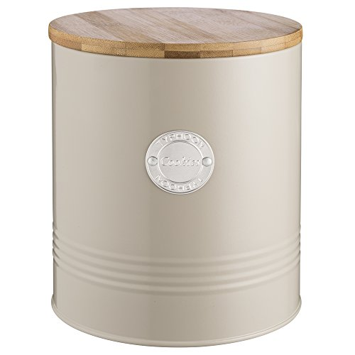 Typhoon Living Putty Cookie Jar, Airtight Bamboo Lid, Durable Carbon Steel Canister With Hard-wearing Matte Coating, Vintage Style Storage Solution for the Countertop or Pantry, 118-Fluid (Bamboo Forest Storage Cabinet)