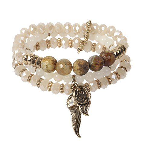 NOVAS 3 Rows Stretch Bracelet with Genuine Stones Glass Beads and Antique Gold Plated Charms