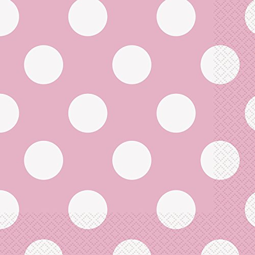 Light Pink Polka Dot Beverage Napkins, 16ct -