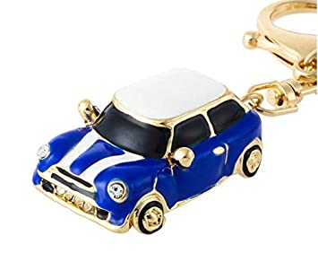 Mini Style Car Keyring Gift Blue Red Rhinestone Detail With Gold