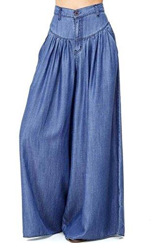 Plaine Vemubapis Rtro Haute Ensemble Taille Et Style De De Pantalon des Blue Femmes Jambe rrR01