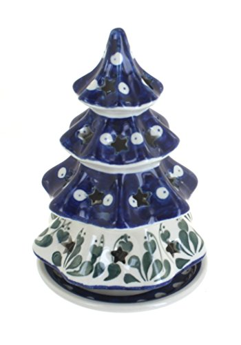 Ceramika Artystyczna Blue Rose Polish Pottery Alyce Medium Christmas Tree Luminary ()