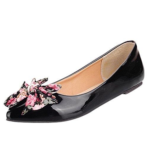 Charm Foot Mujeres Fashion Flowers Bows Punta Estrecha Zapatos De Bomba Plana Negro