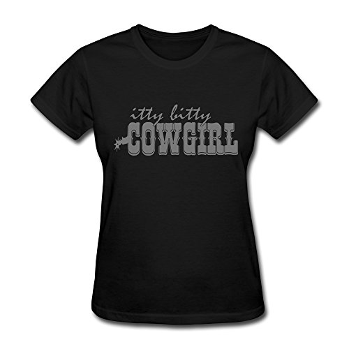 Vansty Itty Bitty Cowgirl Short Sleeves T-shirt For Women Black Size S