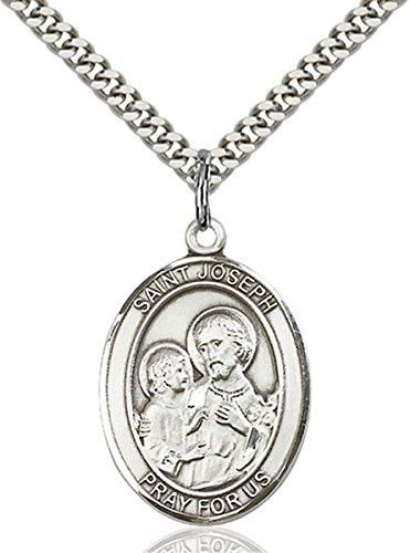 bliss Sterling Silver Saint Joseph Medal Pendant, 1 Inch ()