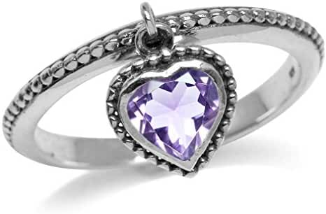 Dangle Natural Heart Shape Amethyst 925 Sterling Silver Stack/Stackable Ring