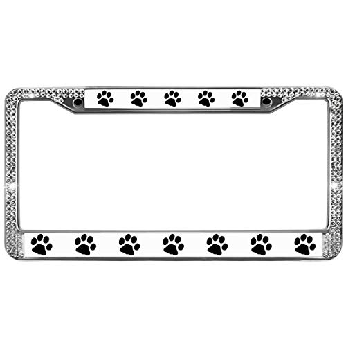 - GND Dog PAW Prints Rhinestones Crystal License Plate Frame,Dog PAW Prints Diamond Crystal License Frame Plate to Fit Any Standard US Plates