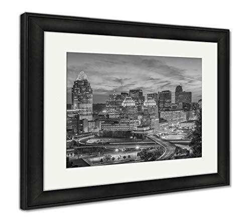 (Ashley Framed Prints Cincinnati, Ohio, USA Skyline, Wall Art Home Decoration, Black/White, 30x35 (Frame Size), Black Frame,)
