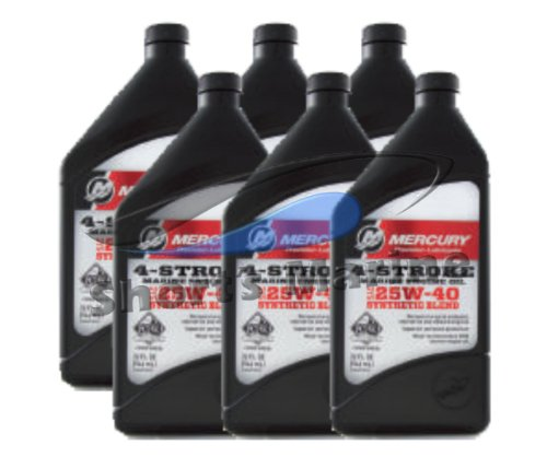 OEM Mercury 4-Stroke FC-W SAE 25W-40 Synthetic Blend Engine Oil Case of 6 Quarts 92-8M0078629