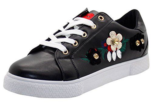 Floral Sneakers Damen Diamante Pumps Schwarz 3D bestickte Sneaker Agn6q45w