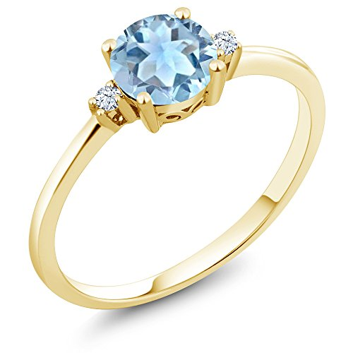 10K Yellow Gold Engagement Solitaire Ring set with 0.78 Ct Round Sky Blue Aquamarine and White Created Sapphires (Available in size 5, 6, 7, 8, 9)