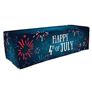Patriotic Party Tablecloth, Table Cover - 8ft Happy 4th of July