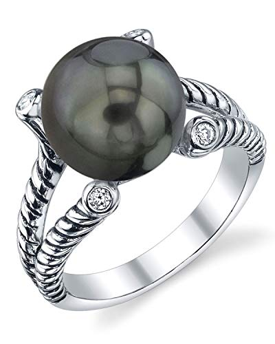 THE PEARL SOURCE 11-12mm Genuine Black Tahitian South Sea Cultured Pearl Cubic Zirconia Braided Ring for Women