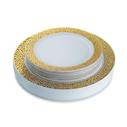 Gold Plastic Plates, Lace Collection White and Gold Plastic Plates With Gold Lace Trim Includes 20 10.25'' Dinner Plates and 20 7.25'' Salad Plates Elegant Disposable Dinnerware Set - Posh Setting