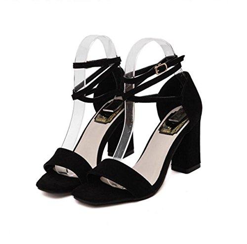 GRRONG Zapatos De Mujer Anillo De Cabeza Cuadrada De Gamuza Del Verano Con La Punta De Tacón Alto Hueco Abierto Black