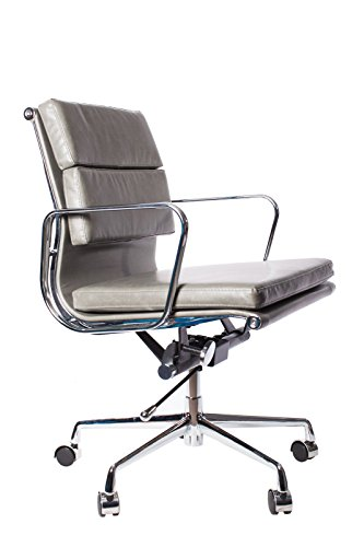 Vintage Grey Premium PU Leather Soft Pad Executive Management Office Replica Chair Swivel and Polished Aluminium Frame - Pewter Low Back - Leather Polished Frame