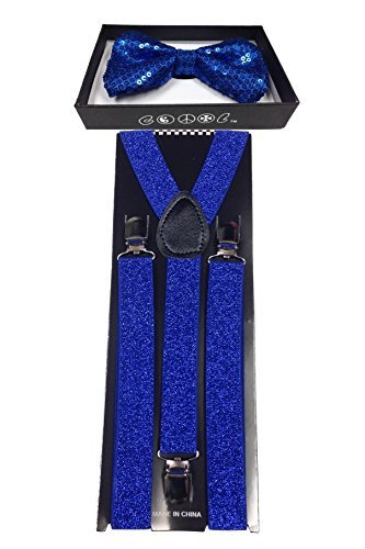 4everStore Unisexs Sequin Bow tie & Suspender Sets (Royal Blue) -