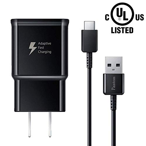 Pantom Adaptive Fast Charging Wall Charger and 5-Feet USB Type C Data Cable Kit Compatible with Samsung Galaxy S10/S10+/S9/S9+/S8/S8+ Note 8/Note 9 & Other Smartphones (Black) ()