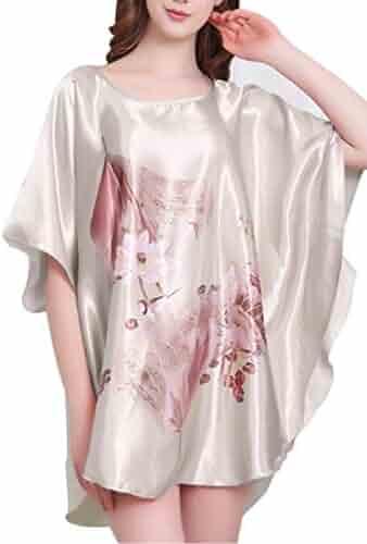 0e762c5382 Aensso Women's Gorgeous Dress Satin Pajamas Sexy Sleepwear & Batwing Sleeve  Nightgown
