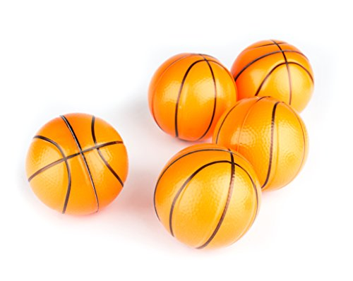 Basketball Sports Stress Ball Bulk Pack of 12 Relaxable 2'' Stress Relief Basketball Squeeze Balls by Neliblu