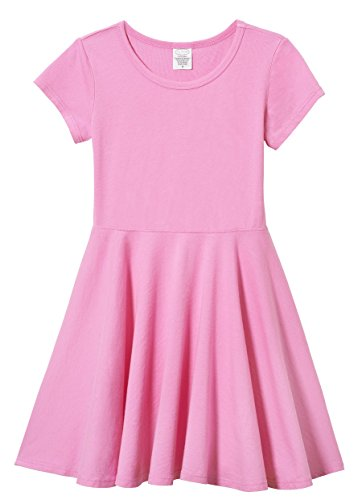 (City Threads Big Girls' Short Sleeve Twirly Circle Party Dress Perfect For Sensitive Skin/SPD/Sensory Friendly For School or Play Fall/Spring, Medium Pink,)