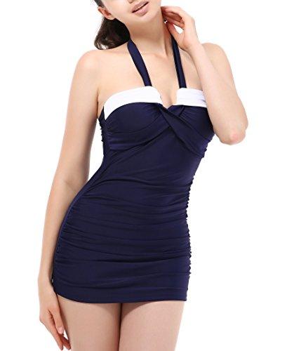 Women's Athletic Push Up One Piece Skirted Cover Up Monokinis Bikini Swimsuit Swimwear Ruched Halter Tankini Swim Dress-M