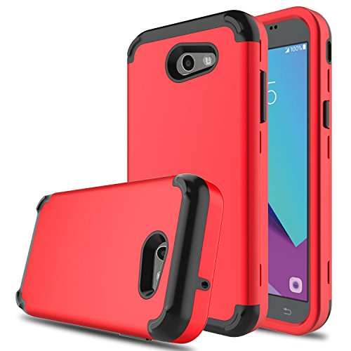 DONWELL New Galaxy J3 2017 Hybrid Three Layer Shockproof Protective Hard Armor Cell Phone Case Cover Protector for Samsung Galaxy J3 Emerge/Express Prime 2 / Amp Prime 2 (Red)