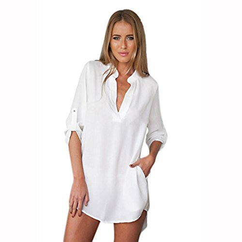 Han Shi V Neck Tunic, Women Fashion Sexy Long Sleeve Blouse Loose Tops Casual Shirt (M, White)