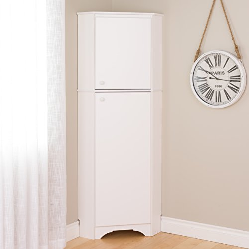 Prepac WSCC-0605-1 Elite Home Corner Storage Cabinet Tall 2-Door, White