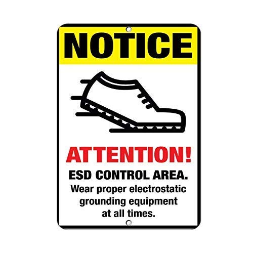 (LOHIGHH ESD Control Area Wear Electrostatic Grounding Equipment Aluminum Metal Sign - 8