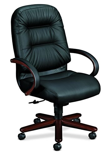 HON Pillow-Soft Leather Executive High-Back Chair - Wood Series Office Chair with Arms, Mahogany/Black Leather (H2191) by HON