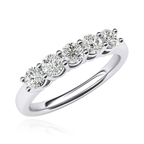 Solid Sterling Silver Eternal Five Stones Anniversary Ring Simulated Brilliant Diamonds Eternity ring 1.25ctw for Women (6)