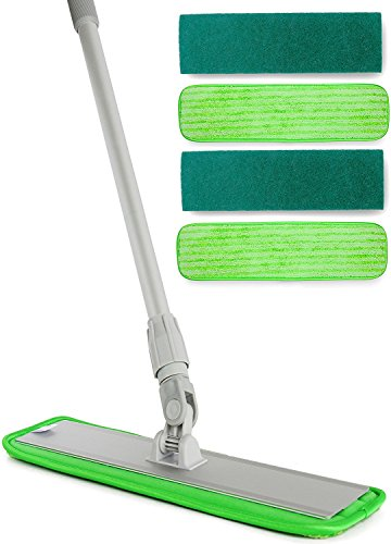 360 Degree Microfiber Floor Mop System with Washable Pads -  Dry Sweep Dust or Wet Jet Mops for Cleaning Hardwood, Wood, Tile, Walls - Long Length Professional / Commercial Grade Metal Handle / Head