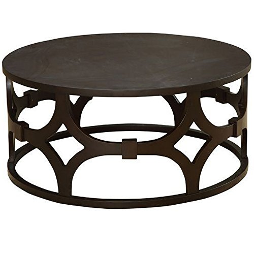 (Armen Living LCTUCO Tuxedo Coffee Table with Brown Wood and Brown Metal Finish)