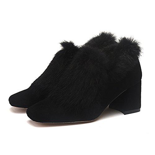 Fereshte Femmes En Peluche En Daim Fourrure Polaire Doublé Chaussures Bloc Mi-talon Bottes Noires