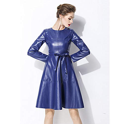 Line Abito Tinta Elegante Unita In Donna M Da A Stile Blue JIZHI 4dBqw084