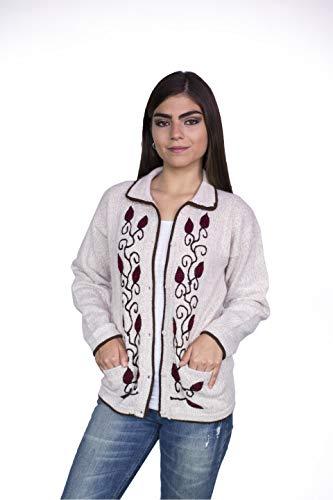Raymis 100% Alpaca Peruvian Women´s Hand Knit Flowers Button Cardigan Sweater (Beige, Large)