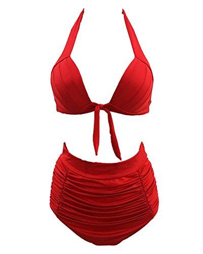 Mujer Retro Arruga Cintura Alta Traje de Baño Bikini Conjuntos Ropa de Baño Rojo