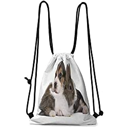 Children'S Small Backpack Beagle,Pets Rabbit and Puppy Animal Kingdom Friendship Best Companions Bunny Picture,Taupe Black White W13.8 x L17 Inch Space Saving Storage Bag