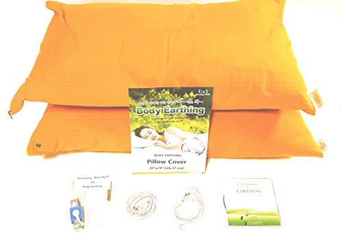 - Body Earthing Pillow Case for Grounding(2 Sets) - Improve Quality of Sleep, RF/EMFs Protection, 90% Cotton, 10% Silver, Including 1 Grounding Wrist Band and 3 Earthing Cords